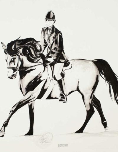 TGG Black Ink Horse & Rider